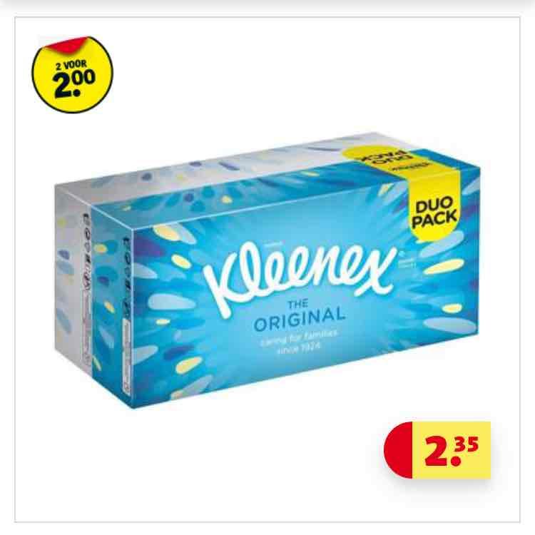 Kleenex tissues 4 dozen voor 2 euro ipv 4,70 euro !