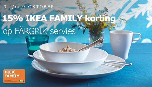 Deze week 15% korting op FÄRGRIK servies @ IKEA