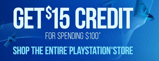 Spend $100 Get $15 Credit @ PSN Store (US, Canada, en Mexico)