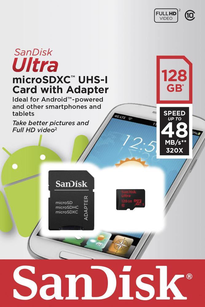 PRIJSFOUT (?): Sandisk Ultra Android microSDXC 128GB Class 10 geheugenkaart met Adapter voor €29,37 @ Amazon.fr