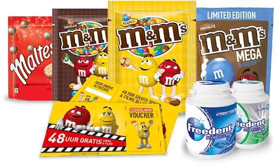 Gratis 48 uur series en films van Videoland bij aanschaf van een actieverpakking M&M's