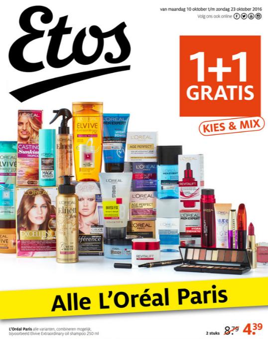 Alles van L'Oréal Paris 1+1 GRATIS @ Etos