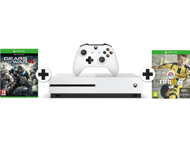 MICROSOFT Xbox One S 500 GB + FIFA 17 + Gears of War 4