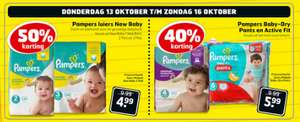 Luiers: Pampers New Baby -50% / Baby Dry pants + Active Fit -40% @ Trekpleister