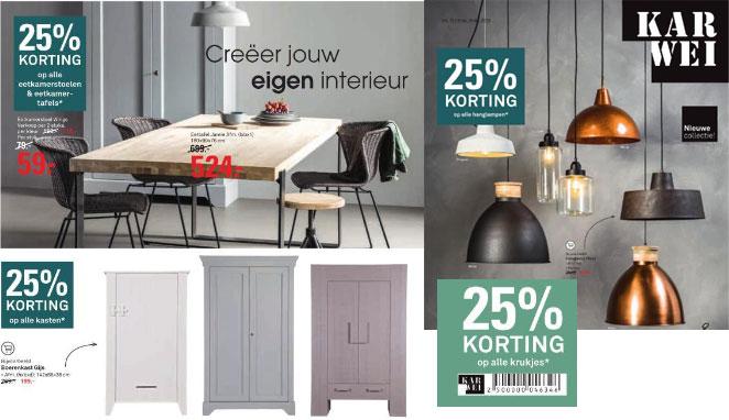 Heel veel meubels + verlichting 25% korting @ Karwei (+ 20% keuzekorting)