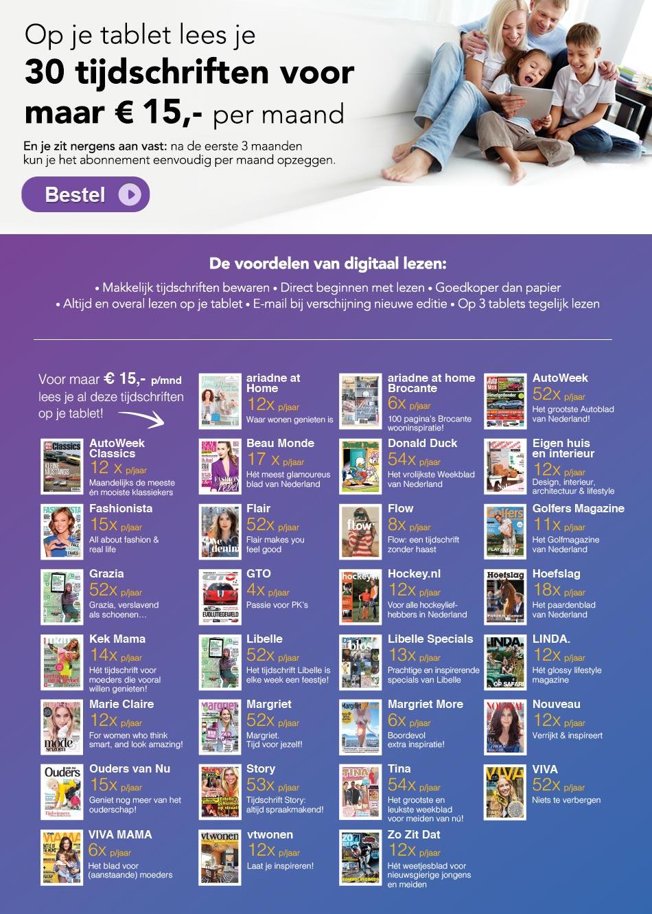 30 Digitale Tijdschriften voor maar €15 per maand @ Tijdschrift.nl