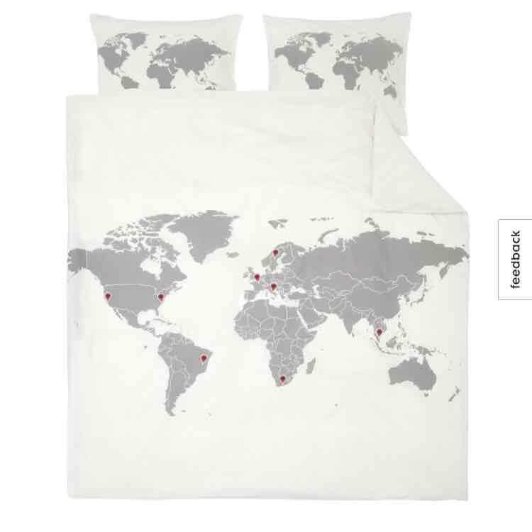 wereldkaart dekbedovertrek 220x240 @ HEMA