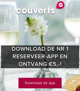 Download de Couverts app en verzilver je €5,- Dinervoucher!