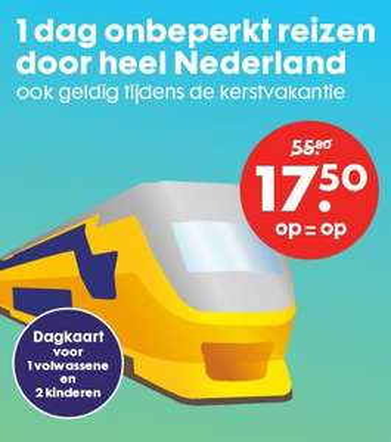 NS Dagkaart voor 1 volwassene (+ evt. 2 kinderen) voor €17,50 @ HEMA