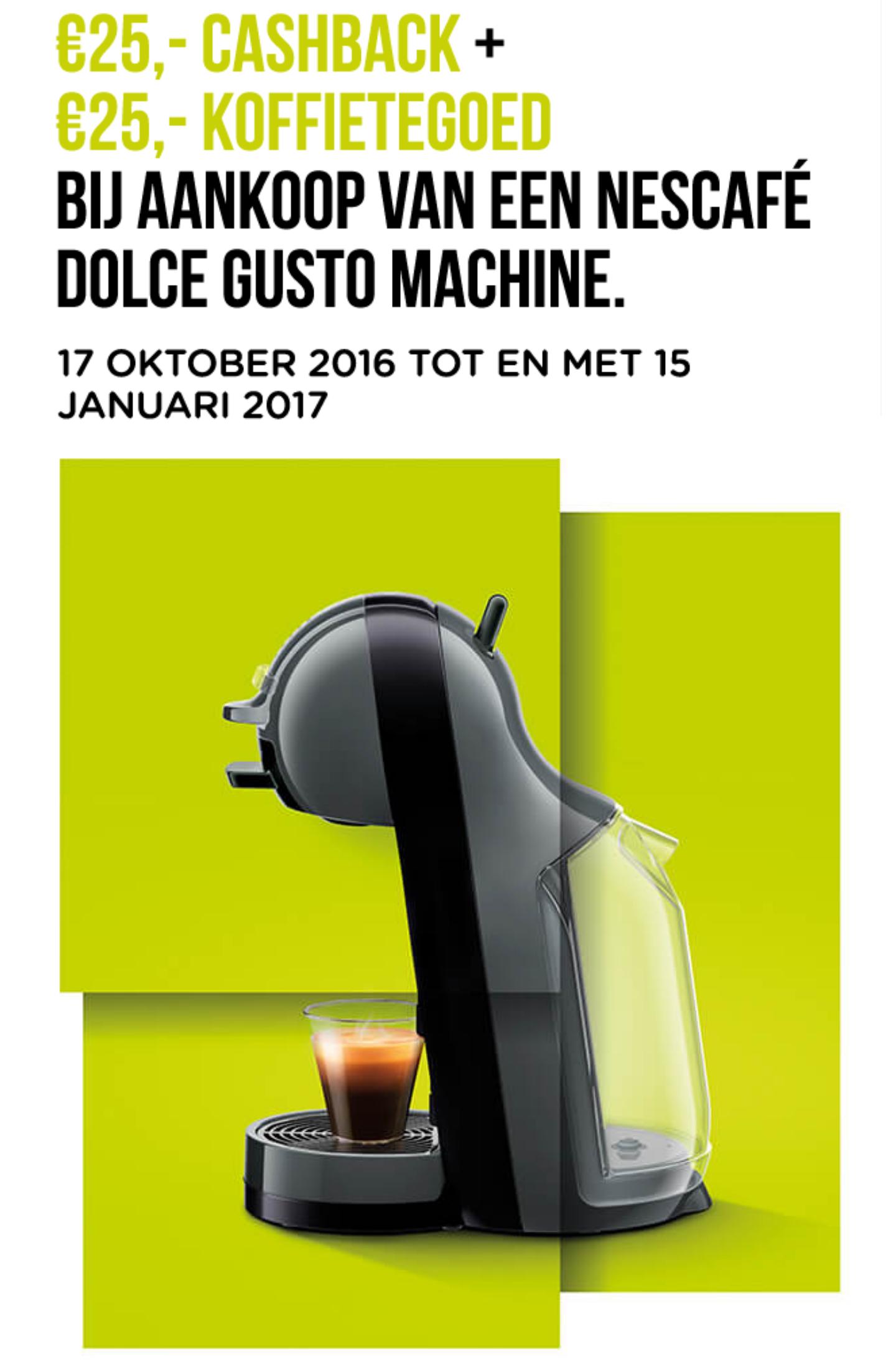 €25 cashback + €25 koffietegoed bij aanschaf van een machine @ Dolce Gusto