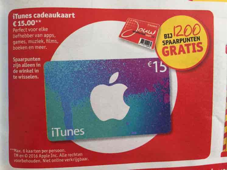 Gratis €15,- iTunes cadeaukaart bij 1200 spaarpunten @Kruidvat