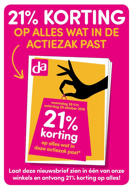 21% korting op alles wat in de actiezak pas (woensdag 26 t/m 29 oktober) @ DA