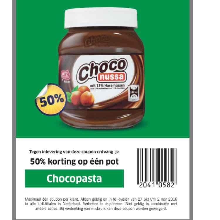 50% korting op een pot chocopasta bij Lidl