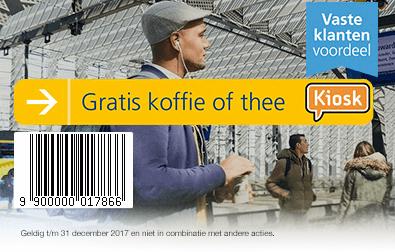 Gratis Koffie of Thee  bij Kiosk NS