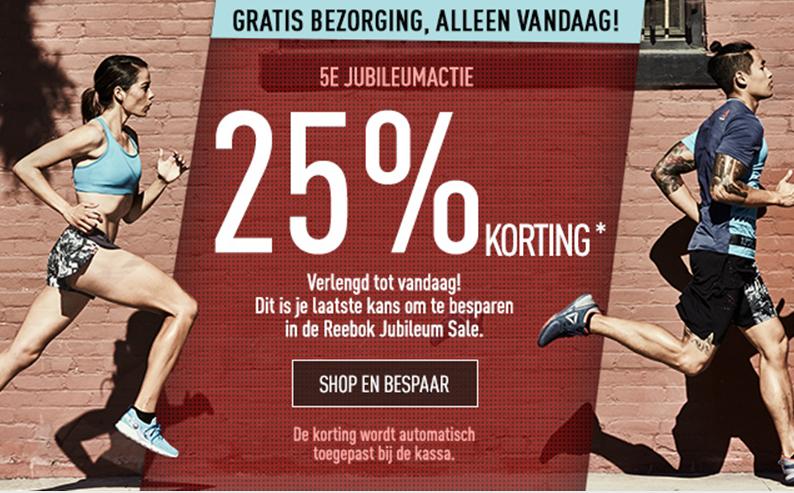 Actie: 25% korting op alles óók op sale + gratis verzending @ Reebok