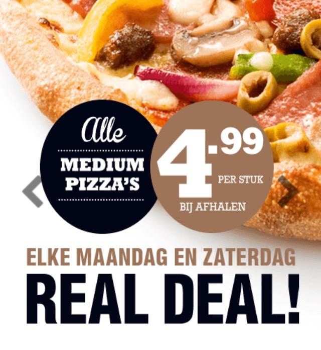 Maandag + zaterdag pizza 4,99 domino's
