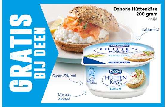 Gratis Danone Hüttenkäse bij Deen (aankoop bedrag retour)
