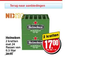 2 kratten Heineken Bier voor €17 bij Hoogvliet