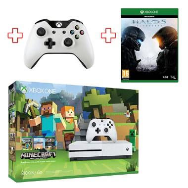 Xbox One S 500GB Minecraft bundel + extra controller en Halo 5 voor €288 @ Bart Smit