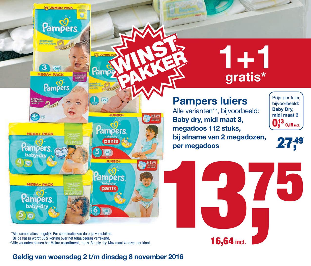 Alle Pampers 1+1 bv: Baby dry maat 3 224stk voor €33,28 @Makro
