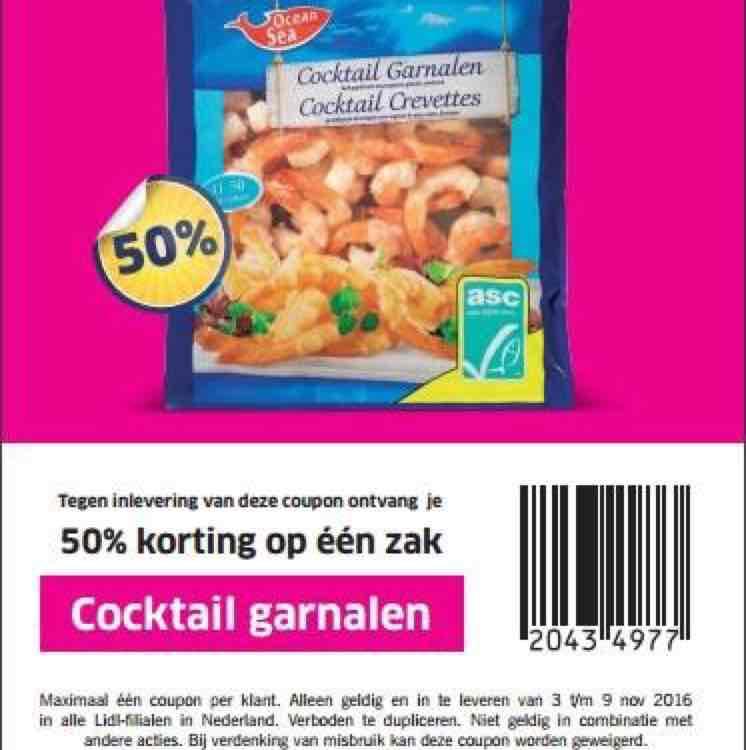 50% korting op cocktail garnalen bij Lidl