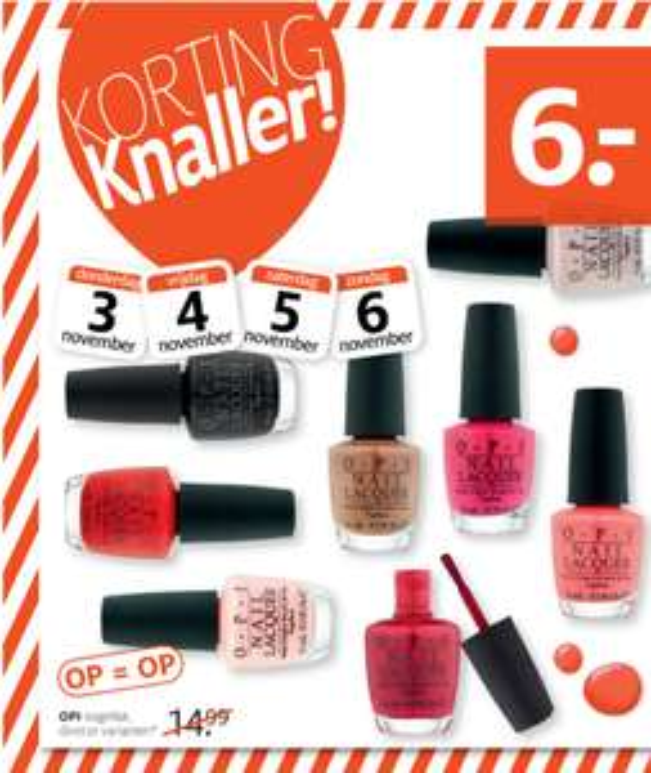 O.P.I. nagellak ( 7 kleuren ) voor €6 @ Etos