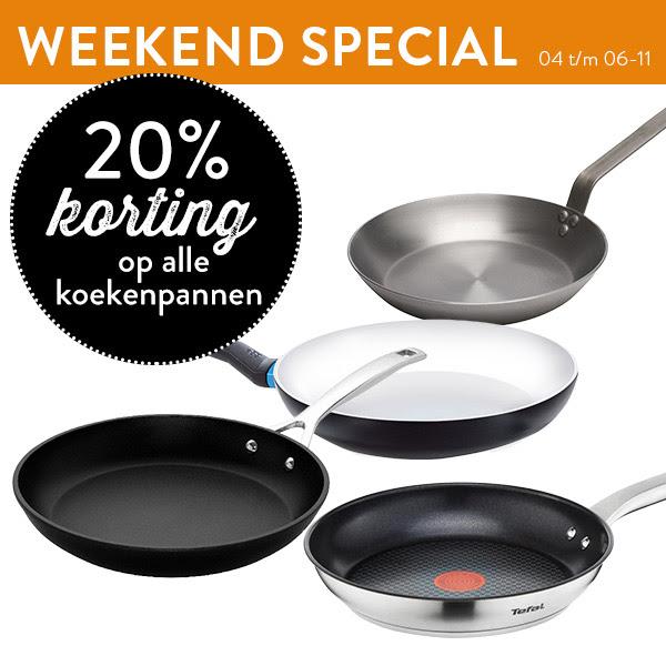 Dit weekend 20% korting op alle koekenpannen @ Cook & Co
