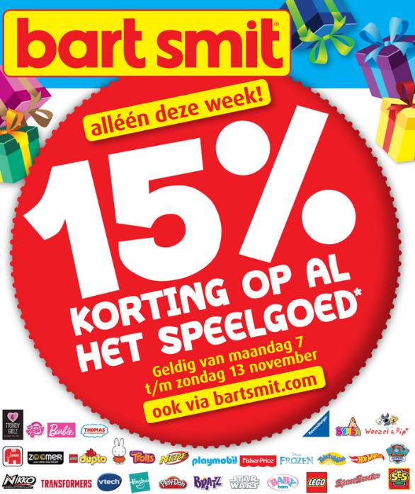 15% korting op al het speelgoed* @ Bart Smit