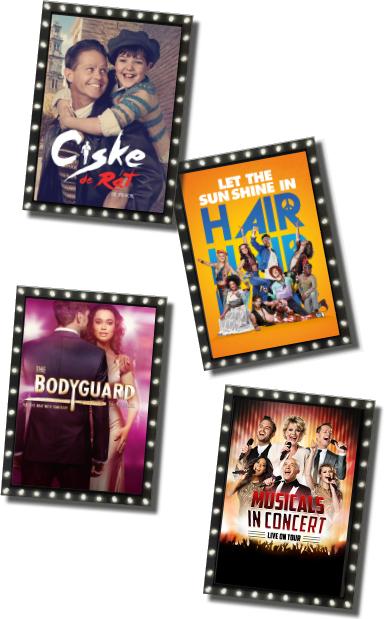 voor 13,25 twee Gratis Musical kaarten.Keuze uit Ciske de Rat, The Bodyguard, Hair of Musicals in Concert