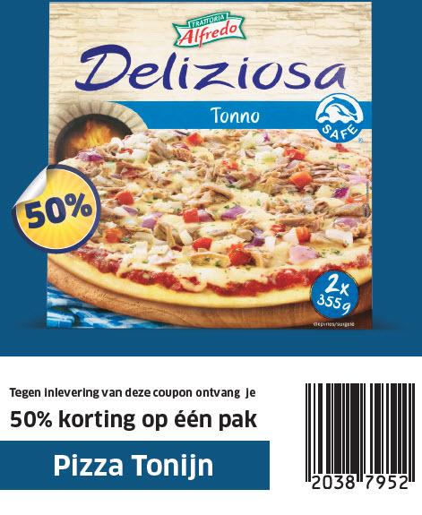 50% korting op 1 pak Pizza Tonijn (2 pizza's) @ Lidl
