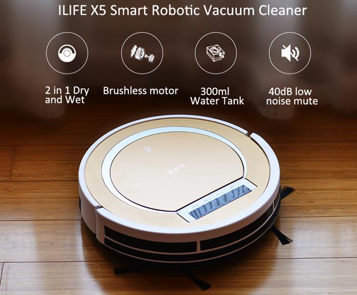 [Update] ILIFE  X5 Smart Robotic Vacuum Cleaner (EU) voor €105,21 @ Gearbest