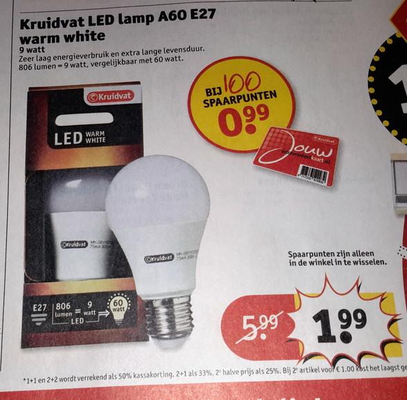 9w led lamp voor 1,99 of 0,99(met punten) @ Kruidvat