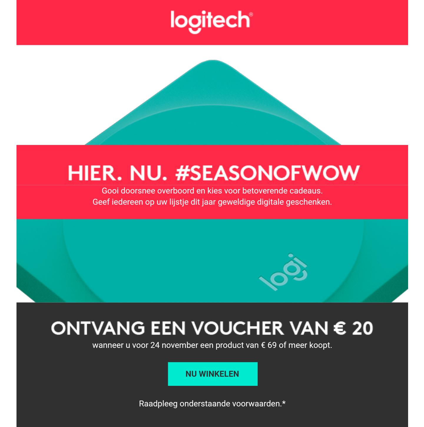 Gratis €20 Voucher bij een besteding vanaf €69 @ Logitech