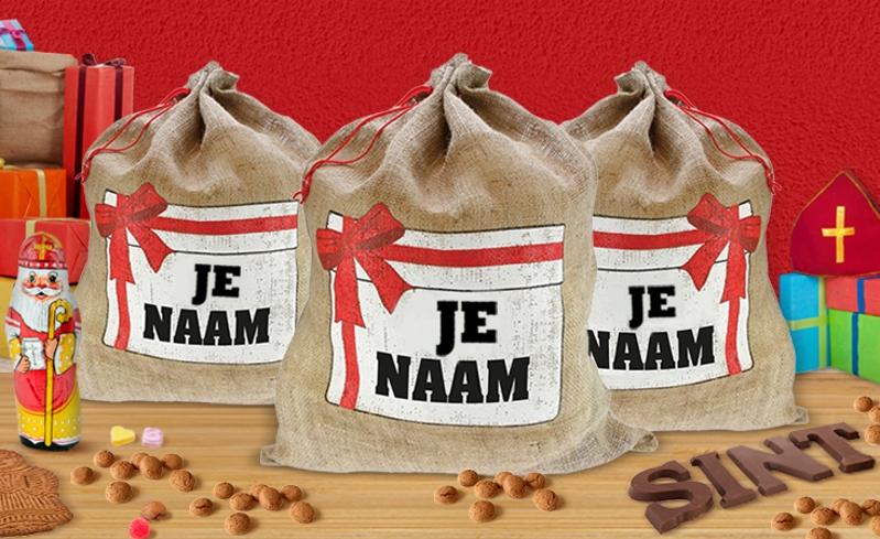 Je eigen bedrukte jute Sinterklaas zak voor 1100 airmiles @ Airmiles