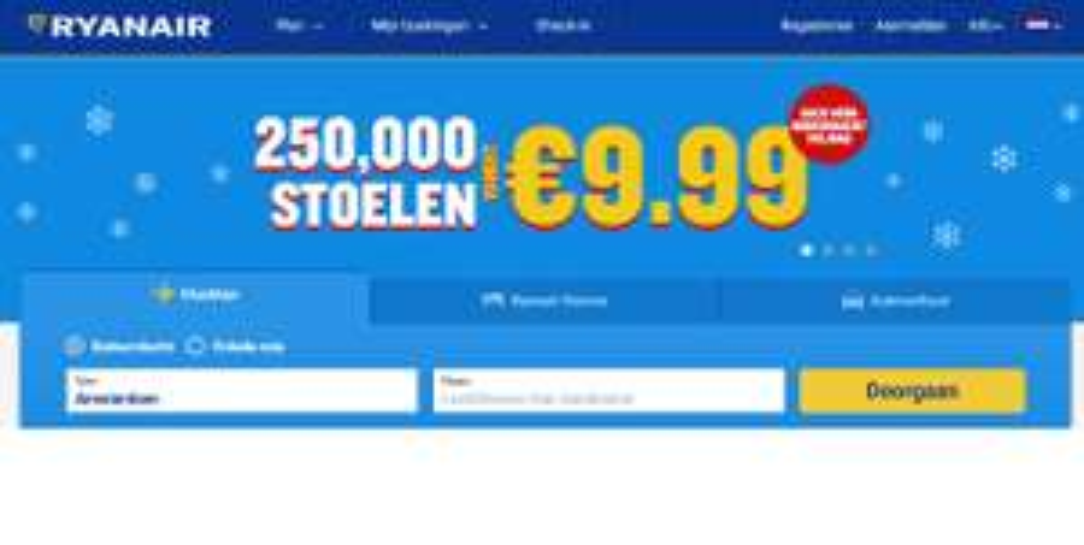 Alleen vandaag 250.000 stoelen vanaf €9,99 @Ryanair