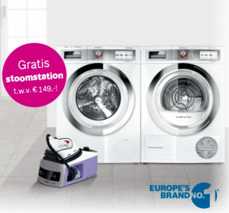 Gratis Bosch Stoomstation strijkijzer bij aankoop van wasdroger of wasmaschine