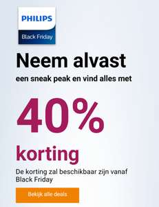 [Black Friday] Aanbiedingen met 40% korting (sneak peak) @ Philips