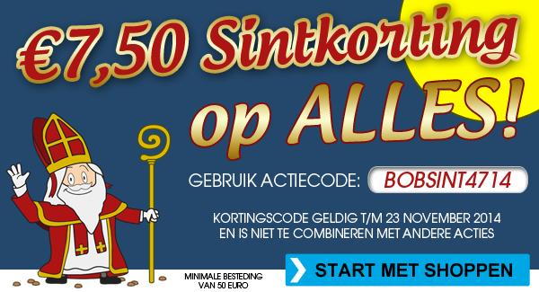 Kortingscode voor €7,50 korting op alles (minimale bestelwaarde €50) @ Bobshop