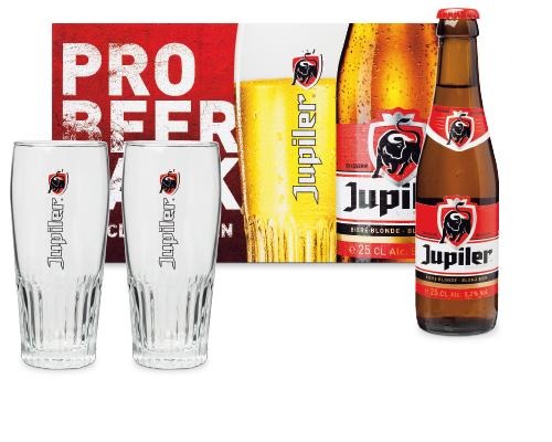 4 flesjes Jupiler + 2 bierglazen voor nog geen 2 Euro bij Aldi