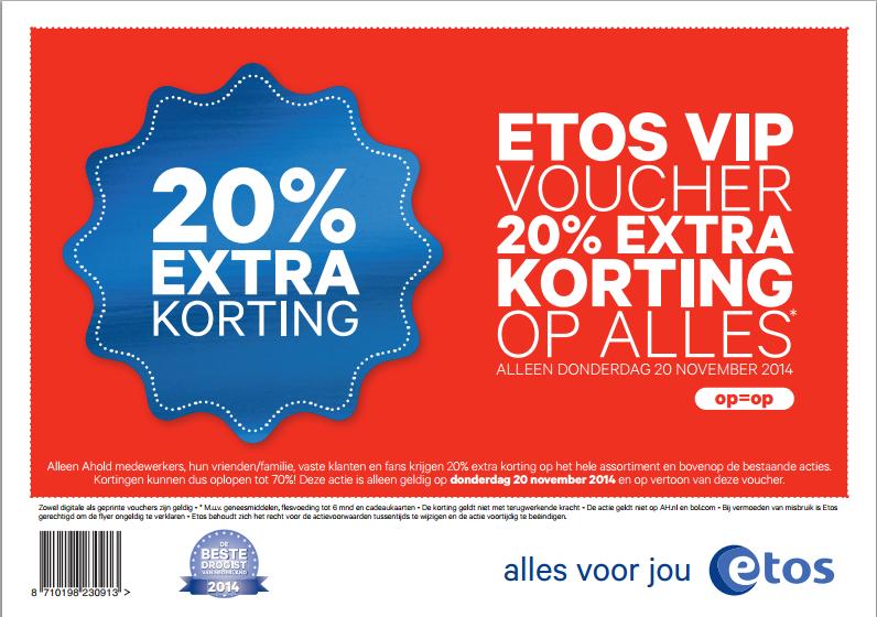 [REMINDER] Donderdag 20 november - 20% korting op het hele assortiment, inclusief alle acties! @ Etos Winkels