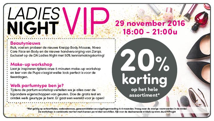20% korting tijdens VipNight op dinsdag van 18:00 - 21:00 @ DA (winkels)