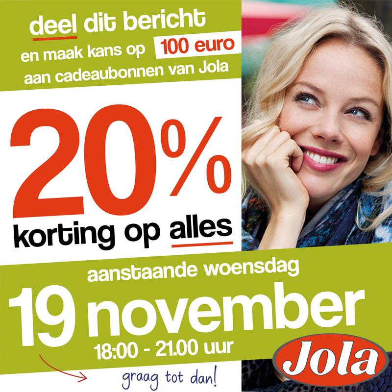 Vanavond 20% korting op alles @ Jola Mode