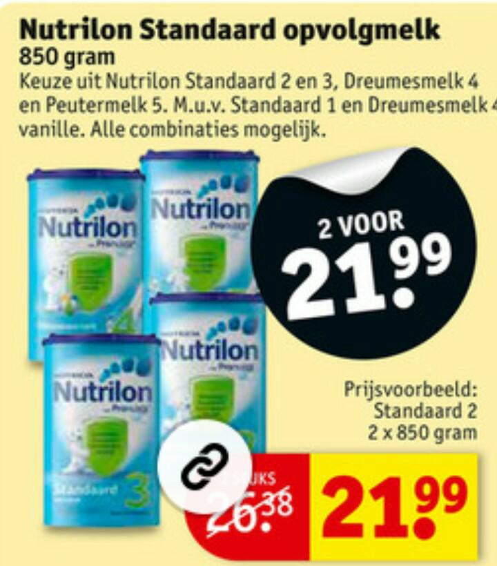 Nutrilon opvolgmelk 2 voor 21,99 bij Kruidvat