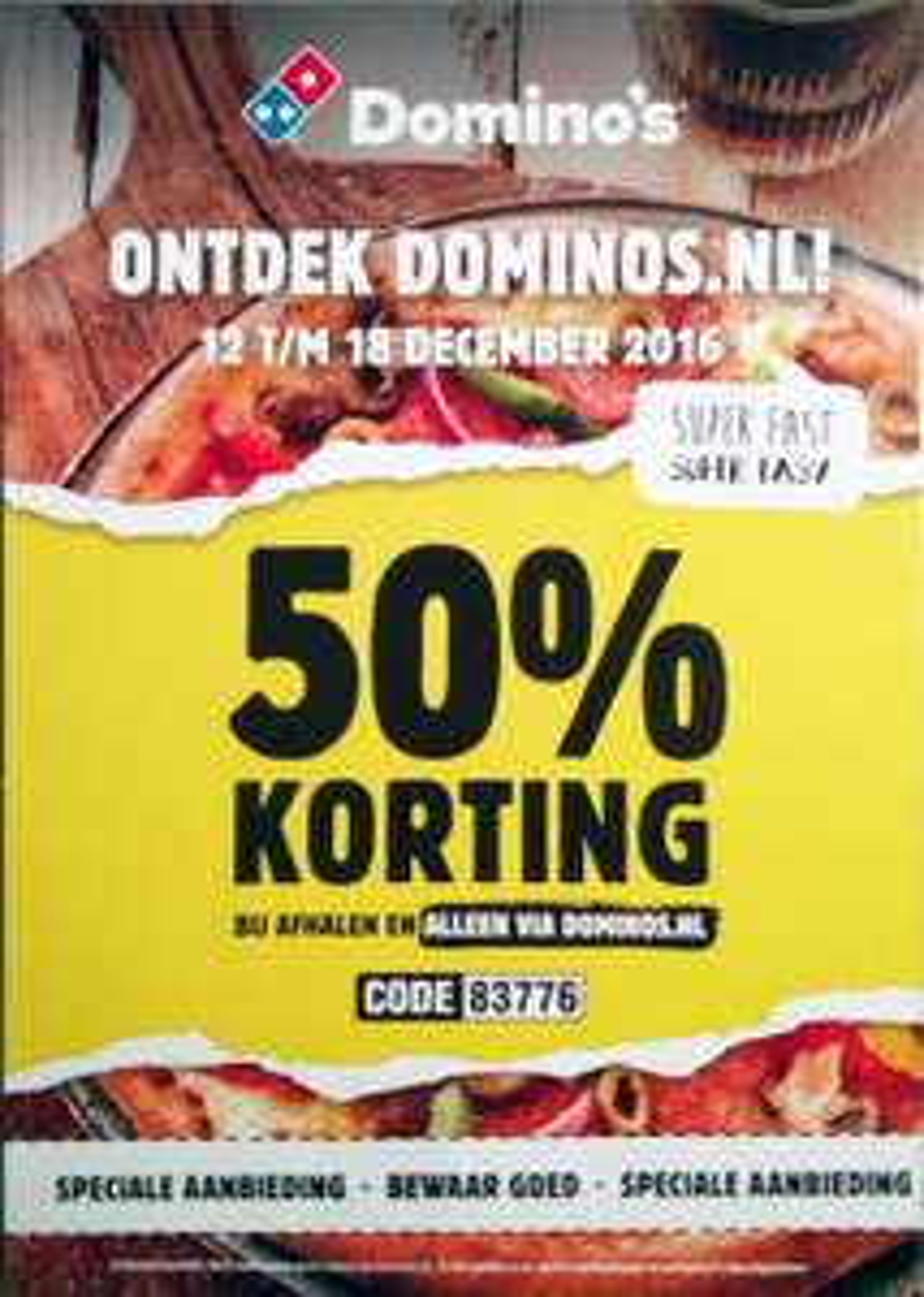 [REMINDER] 50% korting bij Domino's van 12 t/m 18 december