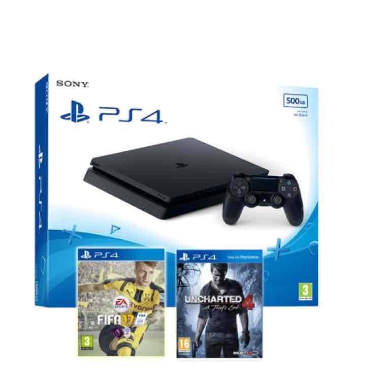 Sony PlayStation 4 500GB Slim Version + Uncharted 4 + FIFA 17