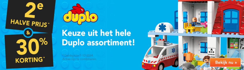 30% korting + 2e halve prijs en €5 extra korting door kortingscode op het hele assortiment Lego Duplo @ Blokker