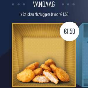 9 McNuggets bij McDonalds voor €1,50 (2 december deal)