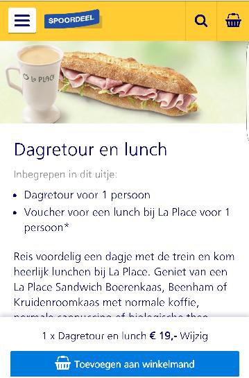Dagretour + lunch bij La Place @Spoordeelwinkel