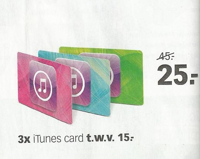 Vanaf morgen (zaterdag) - 3x iTunes kaarten t.w.v. €15 voor €25 @ Dixons Winkels