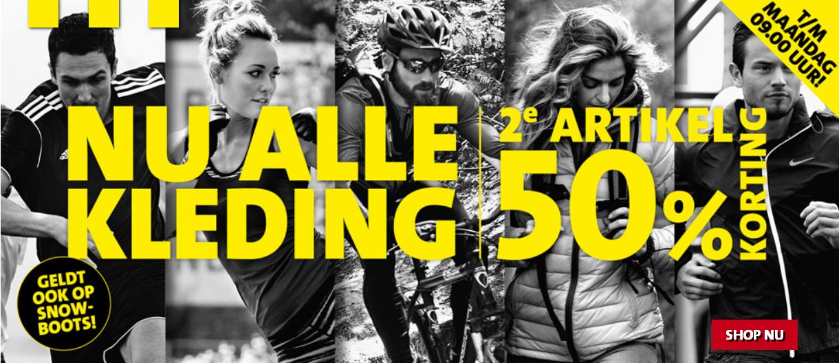 2e artikel 50% korting + 10% extra door kortingcode op alle kleding en snowboots @ Perrysport